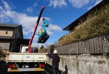 掘削機械の搬入